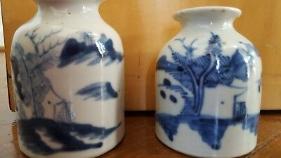 19 C.Old Antique Pair Of Chinese Blue/White Porcelain Ink Wells