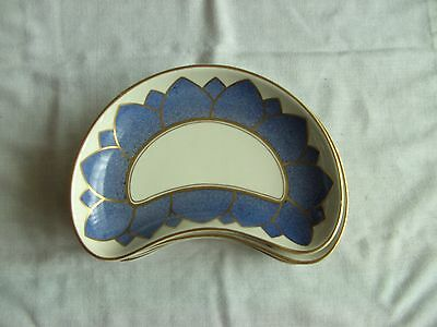Art Deco 1920`s BOOTHS - White/Blue & Gold 1/2 Moon Dishes x 8