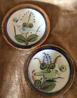 KEN EDWARDS Mexico Two 8 inch Colorful Blue & Green Bird Butterfly Plates