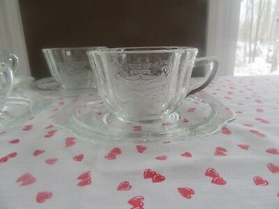 4 - Federal CLEAR GLASS Square CUP & SAUCER SETS Depression MADRID