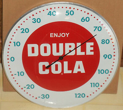 """New """"double Cola"""" 12"""" Round Indoor/outdoor Aluminum Advertising Thermometer!!!"""