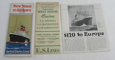 3 Vtg US United States Lines Ship SS Washington Brochure Trip to Europe Schedule