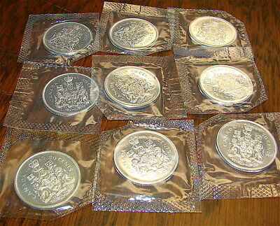CANADA Half Dollar Lot-----9 Coins--Uncirculated-1964 & 1965 dates--.800 Silver