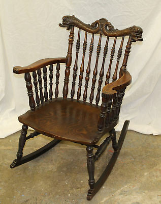 Merveilleux Antique Victorian Oak Rocking Chair U2013 With Spindles Carved Dolphin