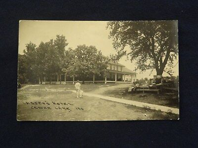 Vtg Cedar Lake Indiana IN Lassen's Hotel Lassens Postcard Photo 1929