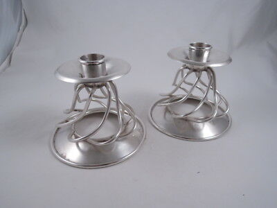 William Spratling Sterling Silver Pair Twist Wire Mexican Candlesticks Mexico