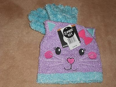 New, Girls Fuzzy Kitty Hat And Gloves Set, One Size