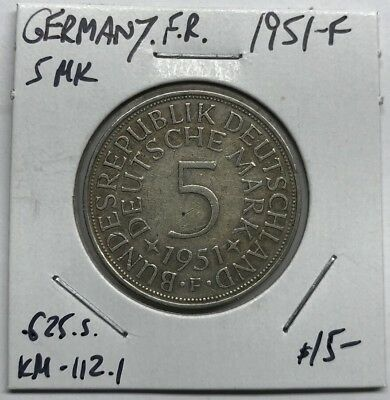 1951-F Germany F.r. Silver 5 Mark Km#112.1