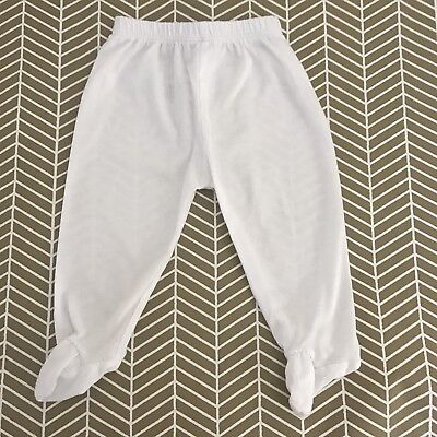 KISSY KISSY 3-6 Months White Footed Pants 100% Pima Cotton Boutique