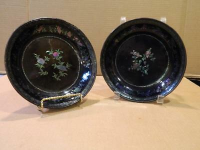 2 Hand Painted Black & Gold Lacquered Paper Mache Bowls Japan Antique