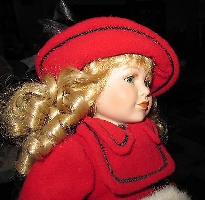 """Porcelain doll red coat lace petticoat red hat white muff blonde hair 15 1/2"""" T"""