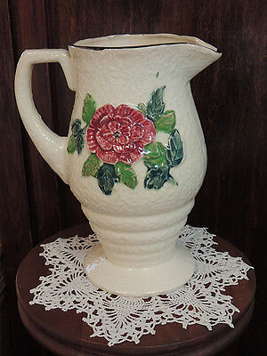"1920's-30's Hand painted Vintage 8.5"" MAJOLICA PITCHER.. Japan Cottage Décor"