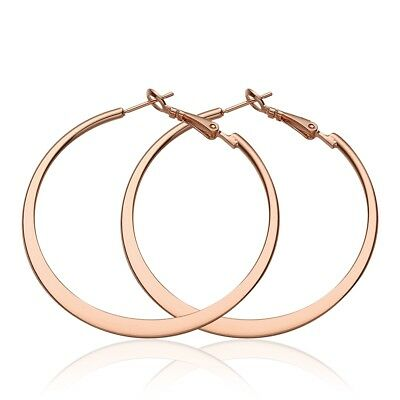 b5efc84a158f7 LARGE 18K 18CT Rose White Gold Filled GF 5.3cm Hoop Earrings EA706 Gift