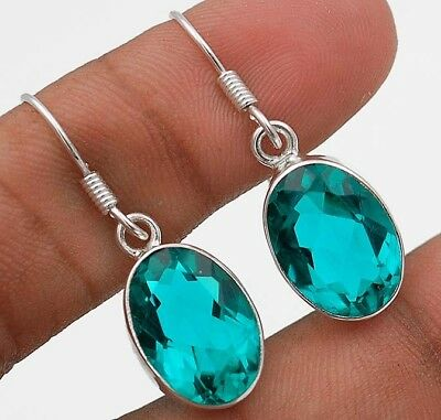 """12CT Apatite 925 Solid Sterling Silver Earrings Jewelry 1 1/3"""" Long"""