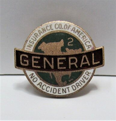 Vintage General Insurance Company Of America No Accident Driver Enamel Pin