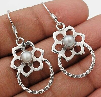 "French Pearl 925 Solid Sterling Silver Earrings Jewelry 1 2/3"" Long"