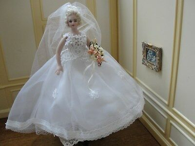 SALE : Artisan Porcelain Bride Doll in Beautiful Wedding Gown - Dollhouse Mini
