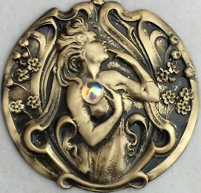 """Large Stamped Brass Art Nouveau Woman """"HOLDING GLASS CRYSTAL BALL""""Button~2 1/4"""""""