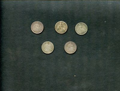 (5) U.S Silver Seated Half Dimes Lot-5 Coins-1857,1854,1861,1853,1857 g-vg