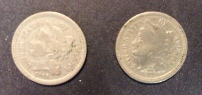 (2 Different) 3 Cent Nickel U.S Coin Lot-1865 Fine & 1866 VF