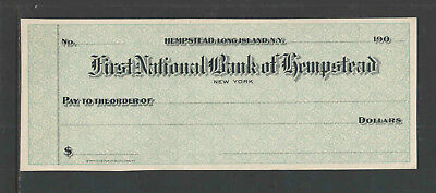 190x FIRST NATIONAL BANK OF HEMPSTEAD LONG ISLAND NY ANTIQUE BANK CHECK