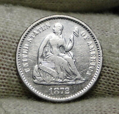1872S Seated Liberty Half Dime H10C - Key Date Only 837,000 Minted (6568)