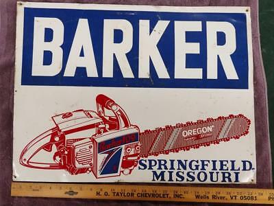 VINTAGE BARKER 109 'SUPER-TRONIC' CHAIN SAWS TIN LITHO SIGN-18x24-SPRINGFIELD MO