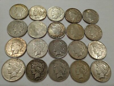 Full ROLL of 20 mixed average circulated PEACE silver dollars.  (lot#32)