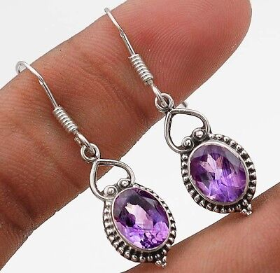 "3CT Amethyst 925 Solid Sterling Silver Earrings Jewelry 1 1/2"" Long"