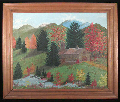 1976 SMITH Vintage KEENE NEW HAMPSHIRE MOUNTAIN LANDSCAPE Oil Painting Folk Art