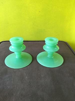 VINTAGE Green PRESSED Glass Candle HOLDERS Set of 2 LAYERED Design