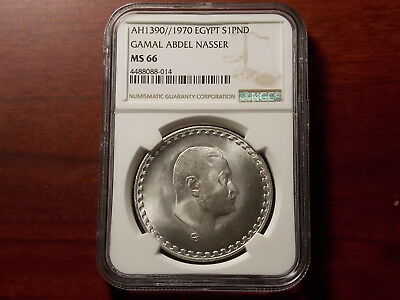 AH1390 1970 Egypt 1 Pound Silver Coin NGC MS-66 Gamal Nasser