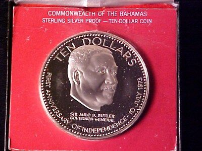 Bahamas $10 Dollars 1.5 Ounce Silver Proof 1974 Milo Butler In Case Nice