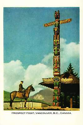 Canada Mountie RCMP at Totem Pole Vancouver Repro Postcard