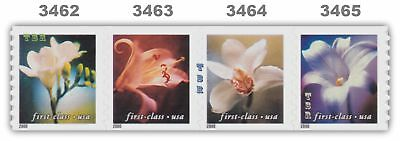 3462-65 3465a First Class (34) Flowers Coil Strip 4 Nondenominated MNH - Buy Now