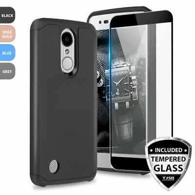 For LG Aristo 2/3/Plus/Phoenix 4 Shockproof Rubber Phone Case+Tempered Glass