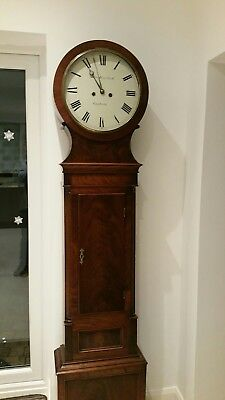 Antique longcase drumhead clock