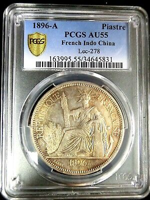 French Indo-China 1896A Liberty PCGS AU55 Secure Silver 1 Piastre Scarce