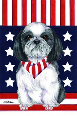 Garden Indoor/Outdoor Patriot (TP) Flag - Black & White Shih Tzu 750111