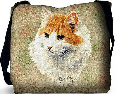 Woven Tote Bag - Red and White Shorthaired Cat 1956