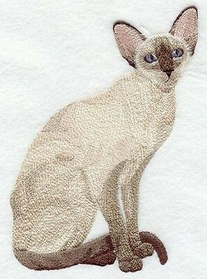 Large Embroidered Zippered Tote - Siamese Cat C7925