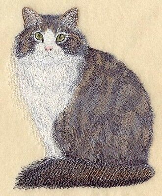 Large Embroidered Zippered Tote - Norwegian Forest Cat C7950