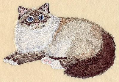 Large Embroidered Zippered Tote - Birman Cat C7931