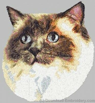 Large Embroidered Zippered Tote - Ragdoll Cat DLE2633