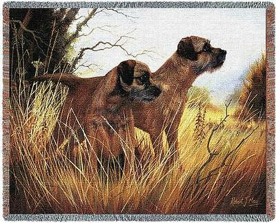 Throw Tapestry Afghan - Border Terrier Pair by Robert May 1139