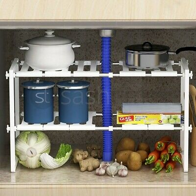 Under Sink Kitchen Rack Organiser Adjustable Removable Storage Tidy Shelf Unit