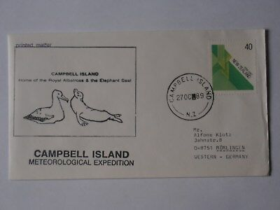 Ross Gebiet Brief - Campbell Island,Meteorologische Expedition 1989