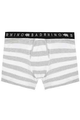 Mens Badrhino & Grey Block Striped A Front Boxers, Size L To 8xl