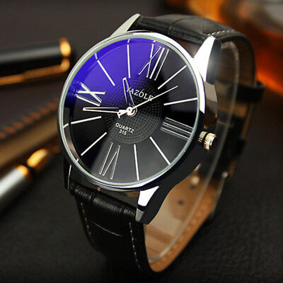 Luxury Fashion Casual Leather Mens Military Glass Quartz Analog Wrist Watch 2018