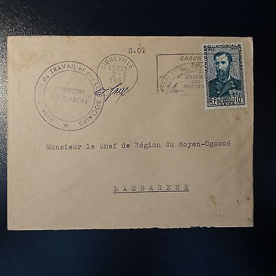Gabon Aef Letter Cover Cad Libreville 1957 Seal Inspection Of The Work